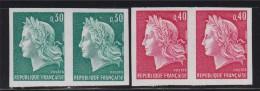 = Marianne De Cheffer Non Dentelé Paire N°1536A 30c Vert Et Paire N°1536B 40c Rouge Neufs Gommés - Frankreich
