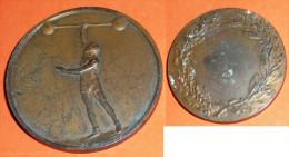 Rare Médaille Bronze Haltérophile Couronne F E Fraisse H Dubois Sport - Professionnels / De Société