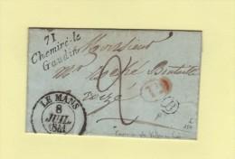 Chemiré Le Gaudin - 71 - Sarthe - Boite Rurale B Courrier De Vallon Sur Gée - Le Mans - Decime Rural Cursive - 1841 - Marcophilie (Lettres)