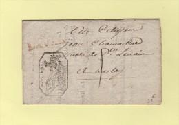 Timbre Fiscal De 15cent Se Retrouvant Sur Le Recto Par Pliage - Laval 51 Mayenne - Courrier Regie Domaine - An 11 - Marcofilia (sobres)