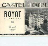 63 - Royat - ** Castel Hôtel ** - Carte Commerciale Ancienne Double - Bon état. - Royat