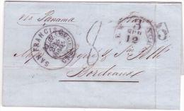 """1860-lettre De San Franscisco Pour Bordeaux """" Via Panama """" Taxe 8 Tampon + Taxe 15 Encadrée  USA - 1849-1876: Classic Period"""