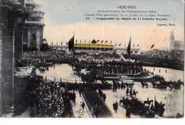 75 EME ANNIV. INDEPENDANCE BELGE 21/7/ 1905  DEPART FAMILLE ROYALE - Manifestations