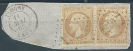 Lot N°27561   Paire Du N°21/fragment, Oblit GC 1527 FLOGNY (83), Ind 5 - 1862 Napoléon III