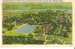 Beautiful Reservoir, Water Tower And Residential Section From The Air, Lawrence Massachusetts - Lawrence