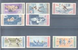 JUEGOS OLIMPICOS DE MELBOURNE 1958 CON BANDERAS DE LOS PAISES SERIE COMPLETA YVERT NRS. 504-508 Y AEREOS  101-103 MNH TB