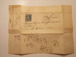 Marcophilie - N° 29A Dentelé 3 Côtés Sur Lettre Enveloppe Du 08/12/1868 (13/15) - Marcophilie (Lettres)