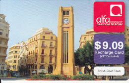LEBANON - Beirut/Down Town, ALFA By Orascom Telecom Recharge Card $9.09, Exp.date 06/04/14, Used - Lebanon