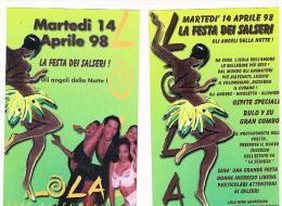 1998 DISCOTECA  LOLA,  PORTO RECANATI  (MC):  LA FESTA DEI SALSERI    - RIF. 3784 - Musica E Musicisti