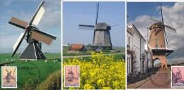 D19303 - 10 CARTES MAXIMUM CARDS FD 2013 NETHERLANDS - COMPLETE SERIES OF 10 DUTCH MILLS - CORRECT POSTMARKS CP ORIGINAL - Molinos