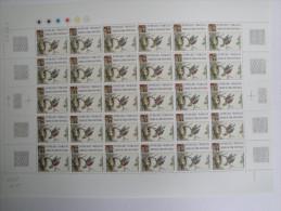 1989 Croix Rouge - Oiseau Yvert  2612  Maury 2613,  Feuille Complète Non Pliée, 30 Timbres,prix Faciale ,à Saisir ! - Feuilles Complètes