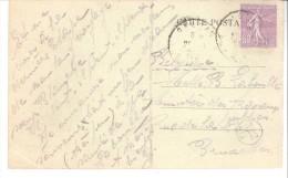 Semeuse Lignée 1924-1932-60c Lilas YT 200 - Seul Sur Lettre ( CPA)-Cachet Facteur Belgique-Sur Cpa-Vichy-Allée Du Parc - 1903-60 Semeuse Lignée