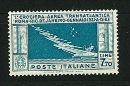 REGNO VITTORIO EMANUELE III - CROCIERA TRANSATLANTICA BALBO - ANNO 1930 SASS. # PA 25 NUOVI GOMMA INTEGRA ** - Airmail