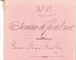 Grand Cahier à Décembre 1866 Chemins De Fer De L'ouest Train De Guingamp à Brest Gare Rôle De Paie - Documents Historiques