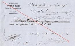 Reçu 1863 Chemin De Fer De L´ouest De Guingamp à Brest Construction Des Gares Baconnier Employé - Documents Historiques