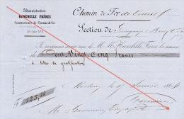 Reçu 1864 Chemin De Fer De L´ouest De Guingamp à Brest Construction Des Gares Baconnier Employé - Documents Historiques