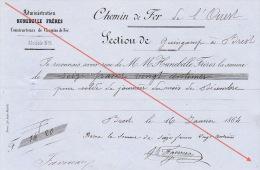 Reçu 1864 Chemin De Fer De L´ouest De Guingamp à Brest Construction Des Gares Favereau - Documents Historiques