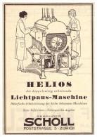Original Werbung - 1927 - Helios - Lichtpausmaschine , Gebr. Scholl In Zürich , Architektur , Kopierer , Poststrasse !!! - Machines