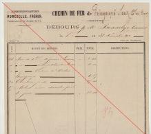 Debours 1863 Chemin De Fer De L´ouest De Guingamp à Brest Construction Des Gares Bonnelye Caissier - Documents Historiques