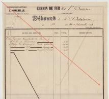 Debours 1863 Chemin De Fer De L´ouest De Guingamp à Brest Construction Des Gares Delaherse Caissier - Documents Historiques