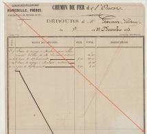 Debours 1863 Chemin De Fer De L´ouest De Guingamp à Brest Construction Des Gares Garnier Gacheur - Documents Historiques