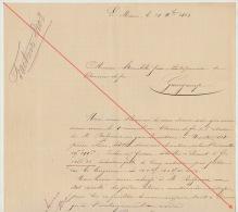 Courrier 1863 Diot Carel Fouché Livraison Bois Pour Chemins De Fer De L´ouest Nantes Gare Maritime - Documents Historiques