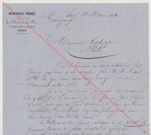 Courrier 1864 Diot Carel Fouché Livraison Bois Pour Chemins De Fer De L´ouest Erreur Compte Livraison Laval Guingamp - Documents Historiques
