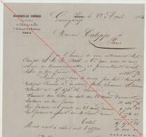 Courrier 1864 Diot Carel Fouché Livraison Bois Pour Chemins De Fer De L´ouest Erreur Compte Livraison - Documents Historiques