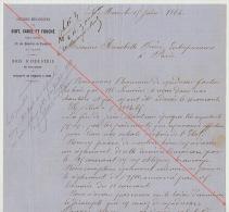 Courrier 1864 Diot Carel Fouché Livraison Bois Pour Chemins De Fer De L´ouest à Hunnebelle Constructeur - Documents Historiques