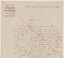 Courrier 1863 Chemins De Fer Ligne D´italie Simplon Bas Valais De Neuchatel Taxe Wagon - Documents Historiques