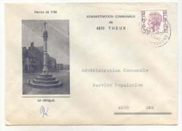 Commune De THEUX - Enveloppe Affranchie 3,25 Frs  *COB 1753* - Oblitération THEUX - Château De Franchimont - Poststempels/ Marcofilie