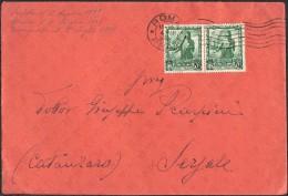 BUSTA CON COPPIA FRANCOBOLLI PROCLAMAZIONE DELL´IMPERO 25 C. DANTE - 04-07-1939 - DA ROMA A SERSALE - CAT.SASSONE N. 441 - 1900-44 Victor Emmanuel III