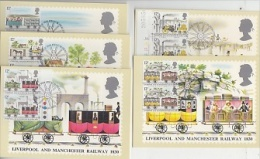 Great Britain 1980 Liverpool And Manchester Railway 1830 5v (in Pairs) 5 Maximum Cards (19157) - Maximumkaarten