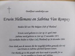 Doodsprentje Erwin Hellemans En Sabrina Van Rompay Lier En Khao Lak ( Thailand ) - Religion & Esotericism