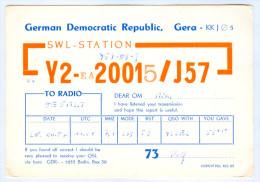 Amateurfunk Funkkarte Radio DDR GDR Gera SWL-Station Y2-EA20015/J57 1987 OESMSM GERMANY Deutschland Amateur Funk Karte - Amateurfunk