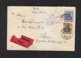 Dt. Reich Expres Brief 1918 Konstanz Nach Bern Zensur Freiburg - Briefe U. Dokumente