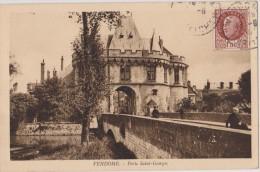 Cpa,loir Et Cher,vendome,porte Saint Georges,pont Plein D´histoire,timbre Maréchal Pétin 1f50
