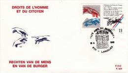 FDC N° 898 Ordi Du 10-8-1989 - COB 2327 - Cachet De 6111 Landelies - Droits De L'Homme Et Du Citoyen - 1,3€ - FDC