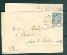 LAC Affranchie Par Yvert N°90 Oblitéré Tours Gare En Aout 1900  Malb0911 - 1877-1920: Semi-moderne Periode