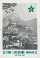 CPSM ESPERANTO Congrès Austria Esperanto Kongreso Kufstein 1947 + Cachet + Timbres - Esperanto