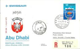 """Luftpost  """"Swissair - Erstflug Abu Dhabi""""  (UNO-Franatur)              1975 - Airmail"""