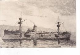 Batiment Militaire Marine Chili Croiseur Presidente Pinto 1890 Tampon Coll Adam - Bateaux