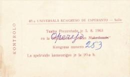 ESPERANTO Lot De 2 Tickets De Contrôle Pour Le Congrès  De Sofia En 1963 - Esperanto