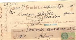 Lettre Change 22/9/1928 SIMEON SICART SARLAT Dordogne Pour Gourdon Lot Timbre Fiscal - Lettres De Change