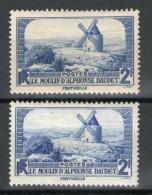 2 N°311*_Bleu Vif Et Terne_papier Blanc Et Jaunâtre_gomme Dito - Abarten: 1931-40 Gebraucht