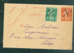 Carte Lettre Yver 138 , Anulation Plume - Malb1008 - Postal Stamped Stationery
