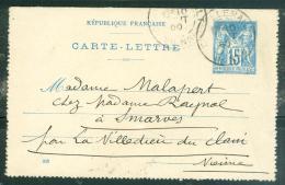 Carte Lettre Yver 90 CL 17 -  VOYAGE EN 1900 -  OBLITERE CHATELLERAULT Malb1007 - Postal Stamped Stationery