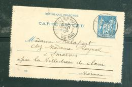 Carte Lettre Yver 90 CL 17 -  VOYAGE EN  AOUT 1900 -  OBLITERE CHATELLERAULT Malb1009 - Postal Stamped Stationery