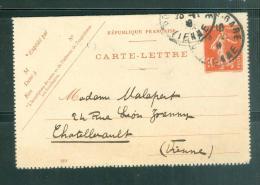 Carte Lettre Yver 138 CL1 Voyagé En 1908 Malb1010 - Postal Stamped Stationery