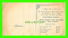 PROGRAMMES - GOFFREDO MAMELI - GRANDE CONCERTO VOCALE ISTRUMENTALE PRO CASSA SCOLASTICA 1951 - - Programmes